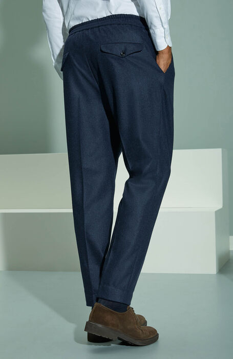 Carrot fit blue wool flannel trousers with drawstring , Incotex - Venezia 1951 | Slowear