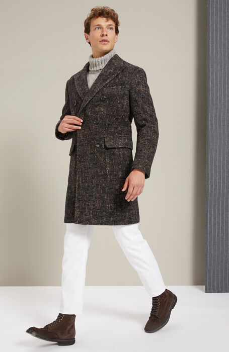 Cappotto doppiopetto foderato in lana di Alpaca a spina di pesce , Montedoro | Slowear