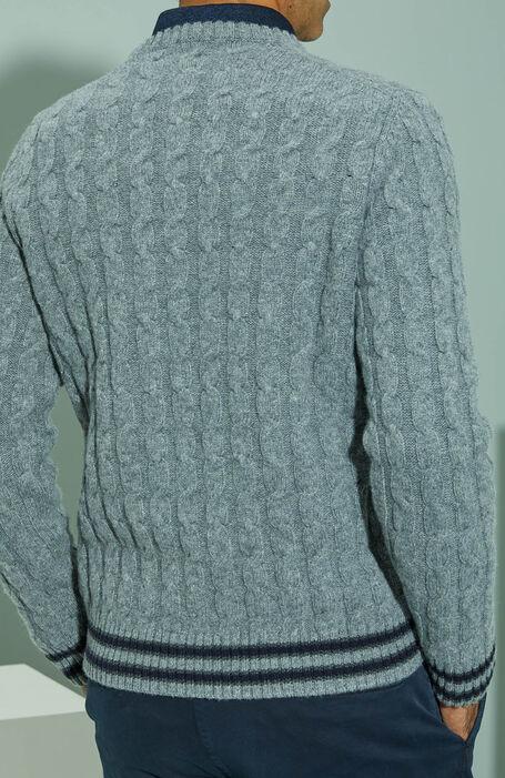 メリノウールアラン模様編みクルーネックセーター/グレー , Zanone | Slowear