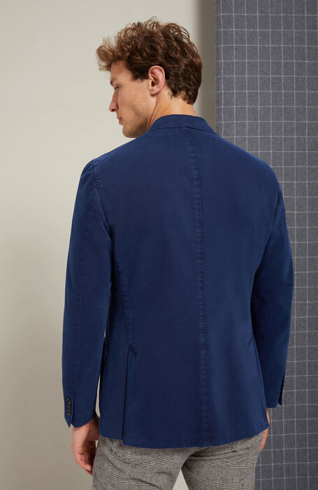 Single-breasted unlined jacket in drill cotton and cashmere blue , Montedoro | Slowear