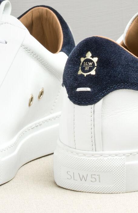 Leather trainers with dark blue suede details , Officina Slowear | Slowear