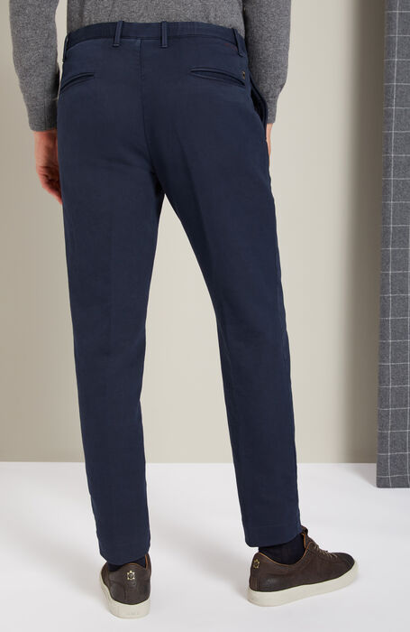 Blue tapered-fit trousers in stretch cotton , Incotex - Slacks | Slowear