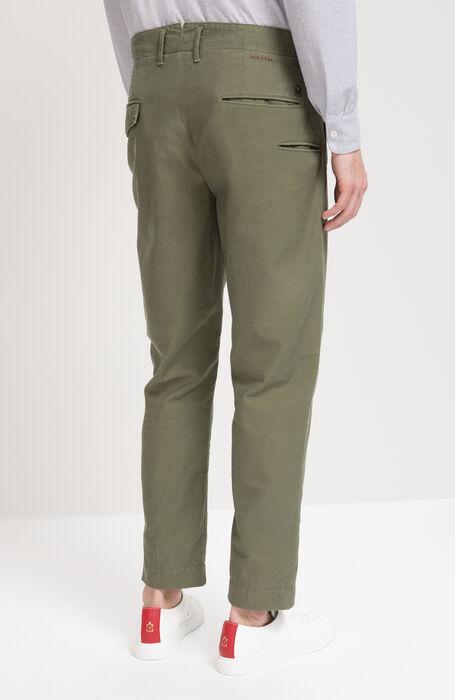 Pantalone Leisure Fit in Cotone Satin Verde , Incotex - Slacks | Slowear