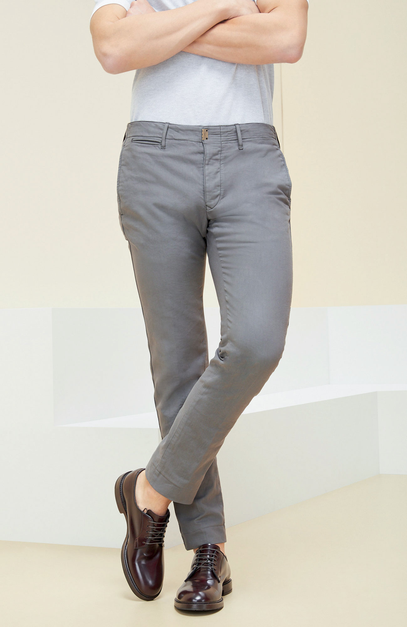 Grey slim fit stretch cotton trousers